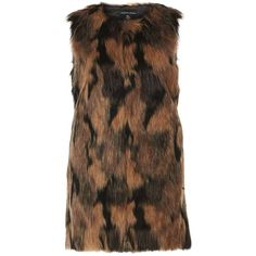 Dorothy Perkins Brown Two Tone Faux Fur Gilet ($79) ❤ liked on Polyvore featuring outerwear, vests, brown, faux fur vest, faux fur gilet, dorothy perkins, faux fur waistcoat and gilet vest