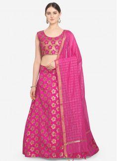 Pink Party Trendy Lehenga Choli Banarasi Lehenga, Pink Lehenga, Ghagra Choli, Bridal Lehenga Online, Net Saree, Pink Parties, Pink Silk, Pink Color, Party Wear