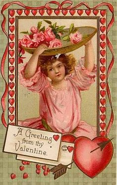 Vintage Valentine Nice colors on this one! Valentine Images, My Funny Valentine, Vintage Valentine Cards, Vintage Greeting Cards, Valentine Day Cards, Vintage Postcards, Happy Valentines Day, Vintage Images, Victorian Valentines