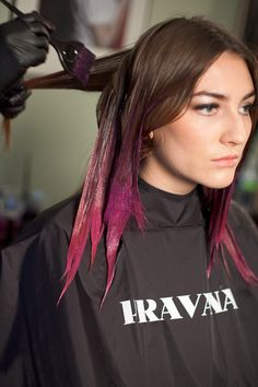 Pravana's Urban Ombre how-to. not sure i'd want my hair fading from dark purple into fuchsia, but i do like the idea of brown fading into a slightly more subtle fuchsia color.
