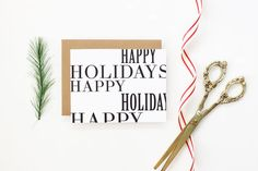 Christmas Cards Personalized Holiday Cards Black and White Typography Greeting Cards Modern Simple Plain Custom Christmas Cards Kraft Paper
