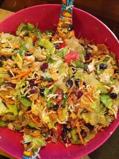 Taco Salad with Avocado Dressing!  I Definitely have to make this dressing. I bet it would be awesome on some fish tacos too.