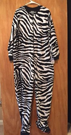 Details about Nick   Nora Zebra Footie Fleece One Piece Pajamas Adult  Sleeper Sz 2XL fd40936d2