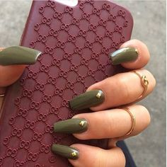 Olive green coffin nails ❤ liked on Polyvore featuring beauty products, nail care, nail treatments, beauty and nails
