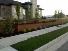 Natural Rust Finish Steel Planter and Retaining modern-landscape - love this look, industrial but not too 'hard'