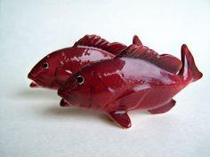 Vintage Fish Salt and Pepper Shaker Red Snapper Set 1950's Japan.