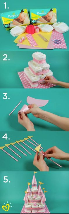 Baby Shower - Learn how to create this fun DIY princess diaper cake castle with an easy step-by-step video. This would make a wonderful baby shower gift, decoration, or thoughtful surprise for your close friend and her new bundle of joy. Shower Party, Baby Shower Parties, Baby Shower Themes, Baby Shower Decorations, Baby Shower Gifts, Shower Ideas, Castle Decorations, Bridal Shower, Shower Bebe