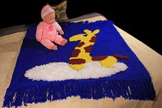 Baby Blanket, Crochet, Stroller Blanket, Crib Blanket, Kids TV Blanket, Faux Fur…