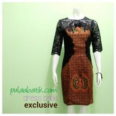 DRESS BATIK KOMBINASI BROKAT DB212