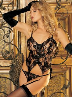 black bustier string stockings gloves bpafw