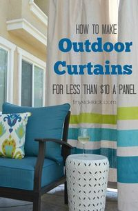 diy drop cloth outdoor patio curtains, home decor, outdoor living, patio, reupholster, window treatments