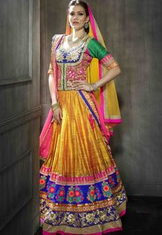 """Orange Bhagalpuri Silk flared lehenga designed with Heavy Zari,Resham Embroidery With Stone Work And Heavy Lace Border. As shown in the photo Pink And Purple And Green Art Silk choli is available. (Choli shown on model is for photography purpose.) Yellow And Pink Net (2,Dupatta) dupatta comes along with this. The choli/blouse size is and lehenga waist size is 44"""""""" inches. The length of the lehenga is 45"""""""" inches. (Slight variation in color and patch border is possible.)"""""""