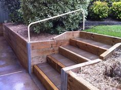wood retaining walls with stairs | Beam Timber Retaining Wall and Paved Stairs