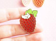 Glitter Raspberry Kitten enamel pin glitter pin sparkly by ShopNDS