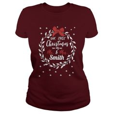 Our First Christmas As Mr & Mrs Smith T Shirt #gift #ideas #Popular #Everything #Videos #Shop #Animals #pets #Architecture #Art #Cars #motorcycles #Celebrities #DIY #crafts #Design #Education #Entertainment #Food #drink #Gardening #Geek #Hair #beauty #Health #fitness #History #Holidays #events #Home decor #Humor #Illustrations #posters #Kids #parenting #Men #Outdoors #Photography #Products #Quotes #Science #nature #Sports #Tattoos #Technology #Travel #Weddings #Women