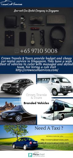 Low-cost Car Rental Company in Singapore  Crown Travels & Tours provide budget and cheap car rental service in Singapore. They have a wide fleet of vehicles to cater with managed and skilled team. For hiring a cab visit:  https://magic.piktochart.com/output/21826739-low-cost-car-rental-company-in-singapore