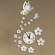 d48b592eef4b Reloj Pared Mariposa removible Hágalo usted mismo 3D Adhesivo Decoración  Habitación Oficina En El Hogar Arte