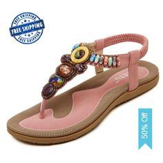 b5a7744f7d1 Newest Summer Women Flat Sandals Hot Selling Bohemia Beaded Rubber Soft  Sole Flip Flops with Straps