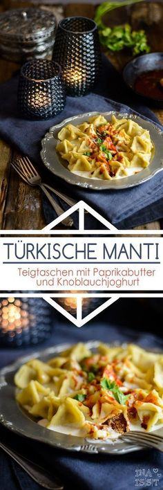 Manti - Turkish dumplings with paprika butter and garlic .- Manti – Türkische Teigtaschen mit Paprikabutter und Knoblauchjoghurt – Ina Isst Manti – Turkish dumplings with paprika butter and garlic yoghurt - Salmon Recipes, Asian Recipes, Healthy Recipes, Ethnic Recipes, Breastfeeding Foods, Albondigas, Turkish Recipes, How To Cook Pasta, Vegetable Recipes
