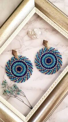 Seed Bead Earrings, Round Earrings, Beaded Earrings, Crochet Earrings, Seed Beads, Beading Tutorials, Beading Patterns, Bracelet Patterns, Silver Jewellery Indian