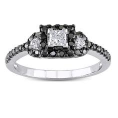 Miadora 10k White Gold 1/2ct TDW Black and White Diamond Ring (G-H, I1-I2)