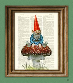 Old Garden Gnome chilling on a toadstool by collageOrama on Etsy, $6.99