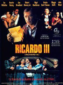 RICARDO III (1995) Richard  Loncraine. Arriscada versió actualitzada de Ricard III i la seva set de poder. Potent i barroca. Va guanyar nombrosos premis i bona crítica.  #cinema #cinemaimes #recomanacions #shakespeare. Disponible a: http://elmeuargus.biblioteques.gencat.cat/search*cat