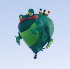 "Frog hot-air balloon -  ""Hot Air Balloons Spark Flights of Fancy"" — by Ginny Prior -  story on the Albuquerque Balloon Fiesta — the most photographed event on the planet."