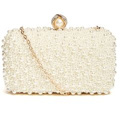 GUESS by Marciano Faux-Pearl Minaudiere ($88) ❤ liked on Polyvore featuring bags, handbags, clutches, bow handbags, white purse, guess by marciano, embellished purse and chain handbags