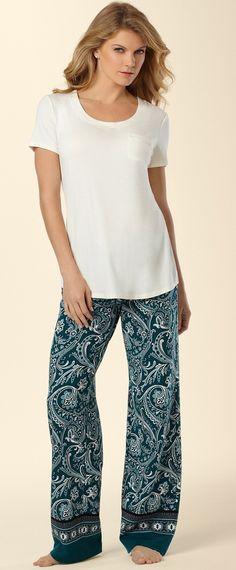 Embraceable Sleep Tee and Pajama Pant in Ambition Print #SomaIntimates #deepteal #mysomawishlist