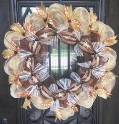 Rustic Golds, Orange and Cream Wreath - Measures about 30 inches wide Mesh Ribbon Wreaths, Fall Mesh Wreaths, Christmas Mesh Wreaths, Diy Fall Wreath, Wreath Crafts, Deco Mesh Wreaths, Wreath Ideas, Cork Wreath, Burlap Wreaths