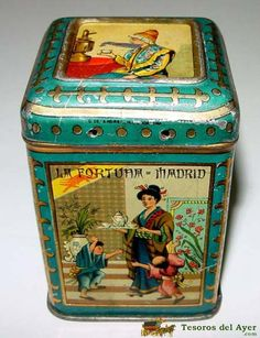 La Fortuna, Madrid oriental litho tea tin Tea Container, Tea Tins, Tin Cans, Vintage Tins, Tin Boxes, Old Antiques, Vintage Children, Kitsch, Biscuit