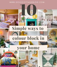 Inspiration for simple budget-friendly ways of adding colour blocking to your home. From half-painted bedrooms to arches in home offices, and bold coloured interiors, here are inspirational interiors from Instagram which you can recreate in your own house on a budget #colourblocking #dovecottageblog #homedecoration Colour Blocking Interior, Color Blocking, Half Painted Walls, Two Tone Walls, Arches, Bold Colors, Simple Way, Offices, Interior Inspiration