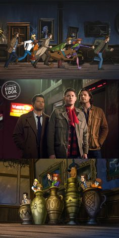 Sam, Dean, and Castiel meet the Mystery Gang in a #Supernatural / Scooby-Doo crossover