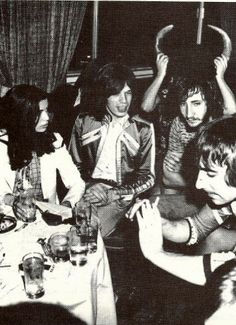 Bianca with Mick Jagger, Pete Townsend and Keith Moon