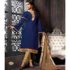 Blue Cotton and Jacquard Party Wear #ChuridarKameez
