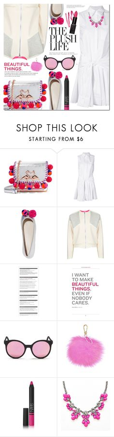 """""""Tuesday"""" by bibibaubau ❤ liked on Polyvore featuring Sophia Webster, 10 Crosby Derek Lam, D'Albert, Arche, Spektre, Furla, NARS Cosmetics, white and Pink"""