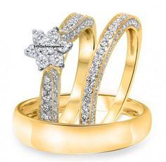 14k Yellow Gold Round Diamond Men's Wedding Band Set+Ladies Engagement Trio Ring #br925silverczjewelry #EngagementWeddingAnniversaryPartyDailyWear