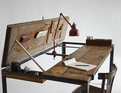 old work bench with innovative features.  via garage journal
