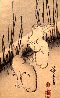 The Moon and Rabbits Utagawa Hiroshige(1797 - 1858)