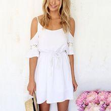 2017 sexy de encaje de gasa ahueca hacia fuera la correa de espagueti femenina mini beach dress off hombro blanco color sólido mujeres short dress(China (Mainland))