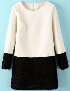 White Contrast Black Long Sleeve Straight Dress