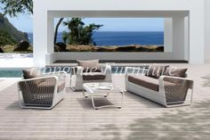 Outdoor patio white rattan furniture wicker sofa set designs