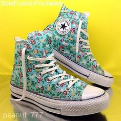 Converse-ALL-STAR-womens-Floral-Trainers-Mint-Pink-Red-Size-4-VTG-High-Tops-36-5