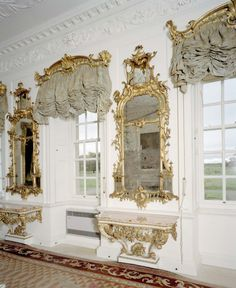 Dumfries House , a Palladian country house in Ayrshire, Scotland....curtains are beautiful..& love this room too