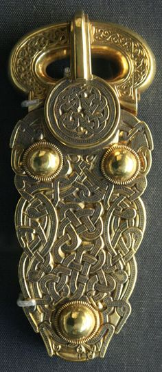 Vikings: Gold belt buckle from the ship burial at Sutton Hoo. From Mound Sutton Hoo, Suffolk, England.
