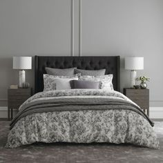 Drift off in opulent luxury with the Wamsutta Kenton Duvet Cover Set. The grey ground of this chic bedding is decorated in a floral voile print and matelassé diamond design, bringing an element of textured beauty to your top of bed. Dark Grey Bedding, Grey Comforter, Coverlet Bedding, Chic Bedding, Queen Comforter Sets, Bedding Sets, Queen Duvet, Floral Bedding, Bedspread