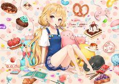 animal barefoot blonde_hair book cake cat dangmill food fruit futaba_anzu idolmaster idolmaster_cinderella_girls loli long_hair pocky red_eyes shorts strawberry teddy_bear twintails