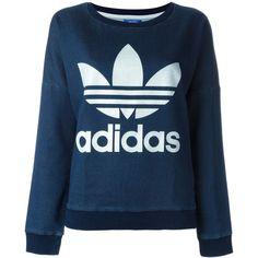 Adidas Originals Trefoil Logo Print Sweatshirt (€73) ❤ liked on Polyvore featuring tops, hoodies, sweatshirts, blue, blue long sleeve top, print sweatshirt, blue print top, long sleeve sweatshirt and fitted tops