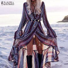 ZANZEA 2017 New Sexy V Neck Bohemian Beach Long Dresses Fashion Ladies Loose Butterfly Sleeve Ruffles Split Femininas Vestidos